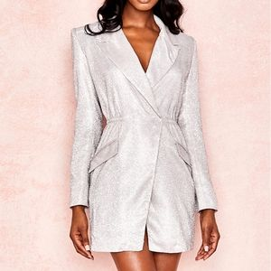 House of CB Silver Glitter BLazer Dress